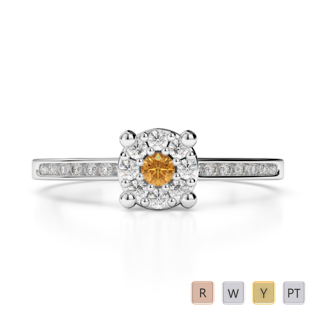 Gold / Platinum Round Cut Citrine and Diamond Engagement Ring AGDR-1163