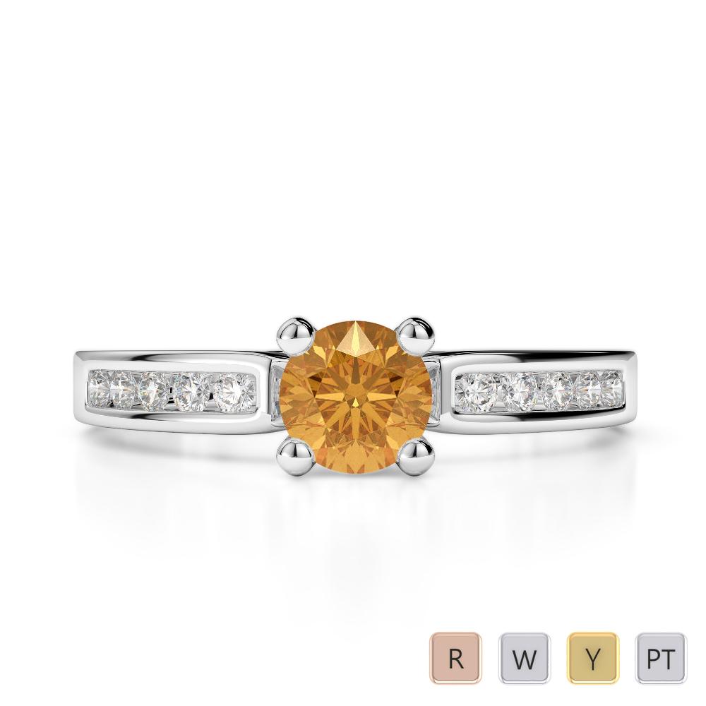 Gold / Platinum Round Cut Citrine and Diamond Engagement Ring AGDR-1184