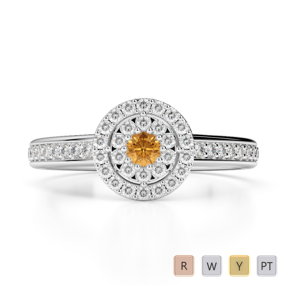 Gold / Platinum Round Cut Citrine and Diamond Engagement Ring AGDR-1188