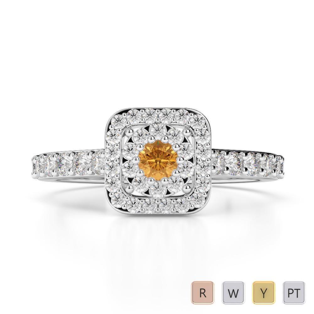 Gold / Platinum Round Cut Citrine and Diamond Engagement Ring AGDR-1189