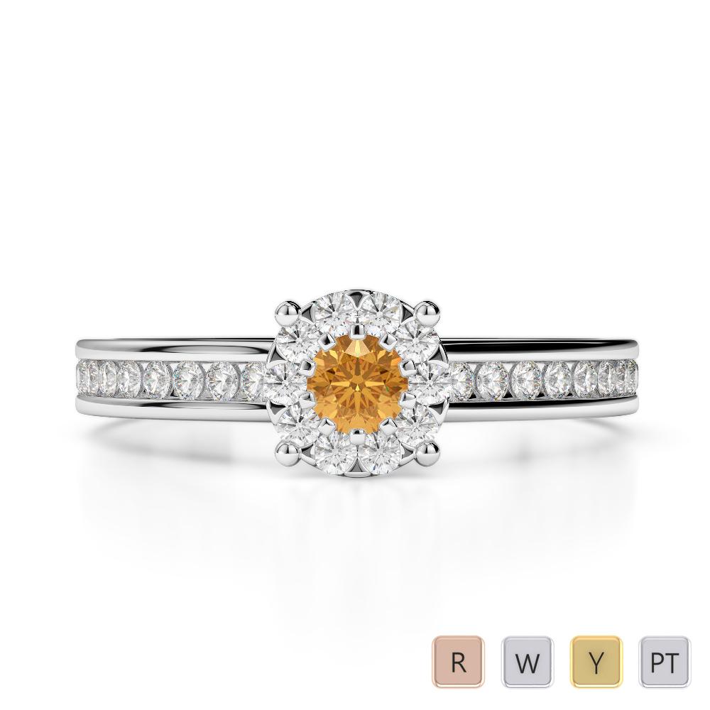 Gold / Platinum Round Cut Citrine and Diamond Engagement Ring AGDR-1190