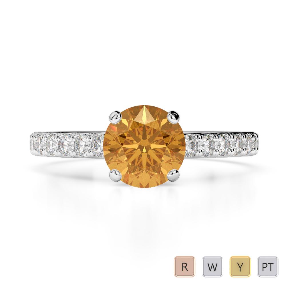 Gold / Platinum Round Cut Citrine and Diamond Engagement Ring AGDR-1201