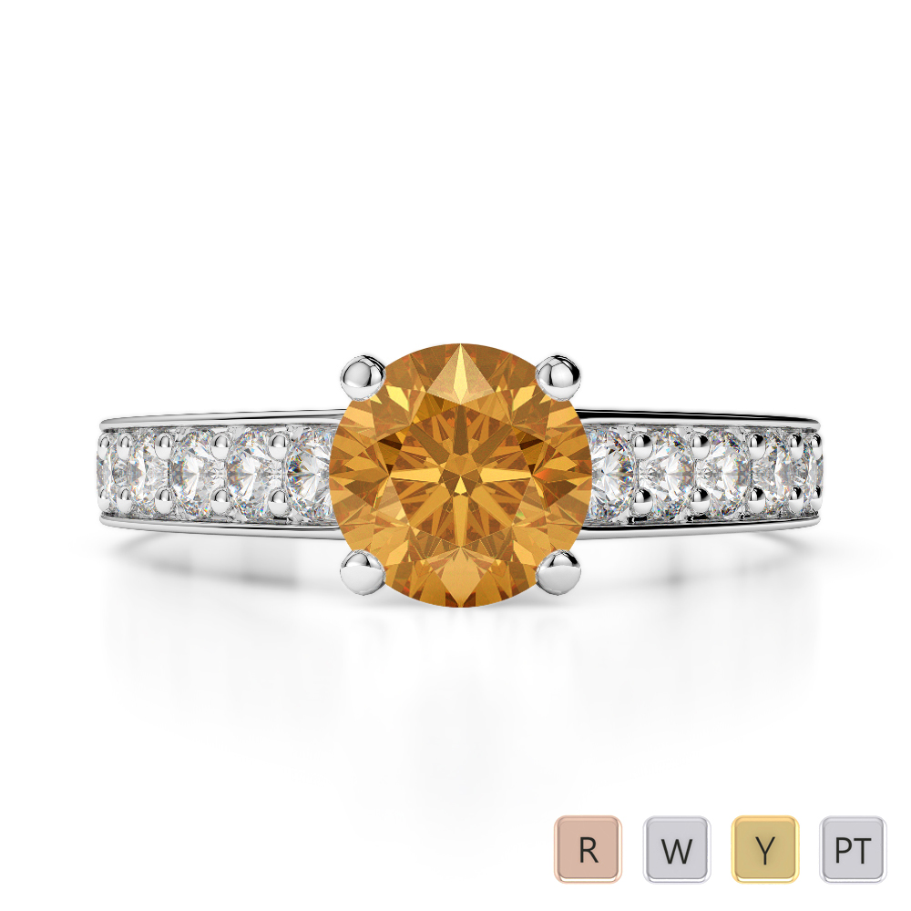 Gold / Platinum Round Cut Citrine and Diamond Engagement Ring AGDR-1202