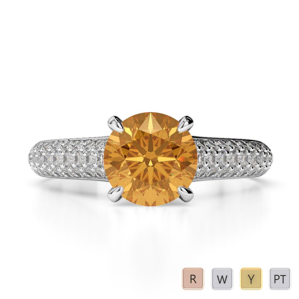 Gold / Platinum Round Cut Citrine and Diamond Engagement Ring AGDR-1203