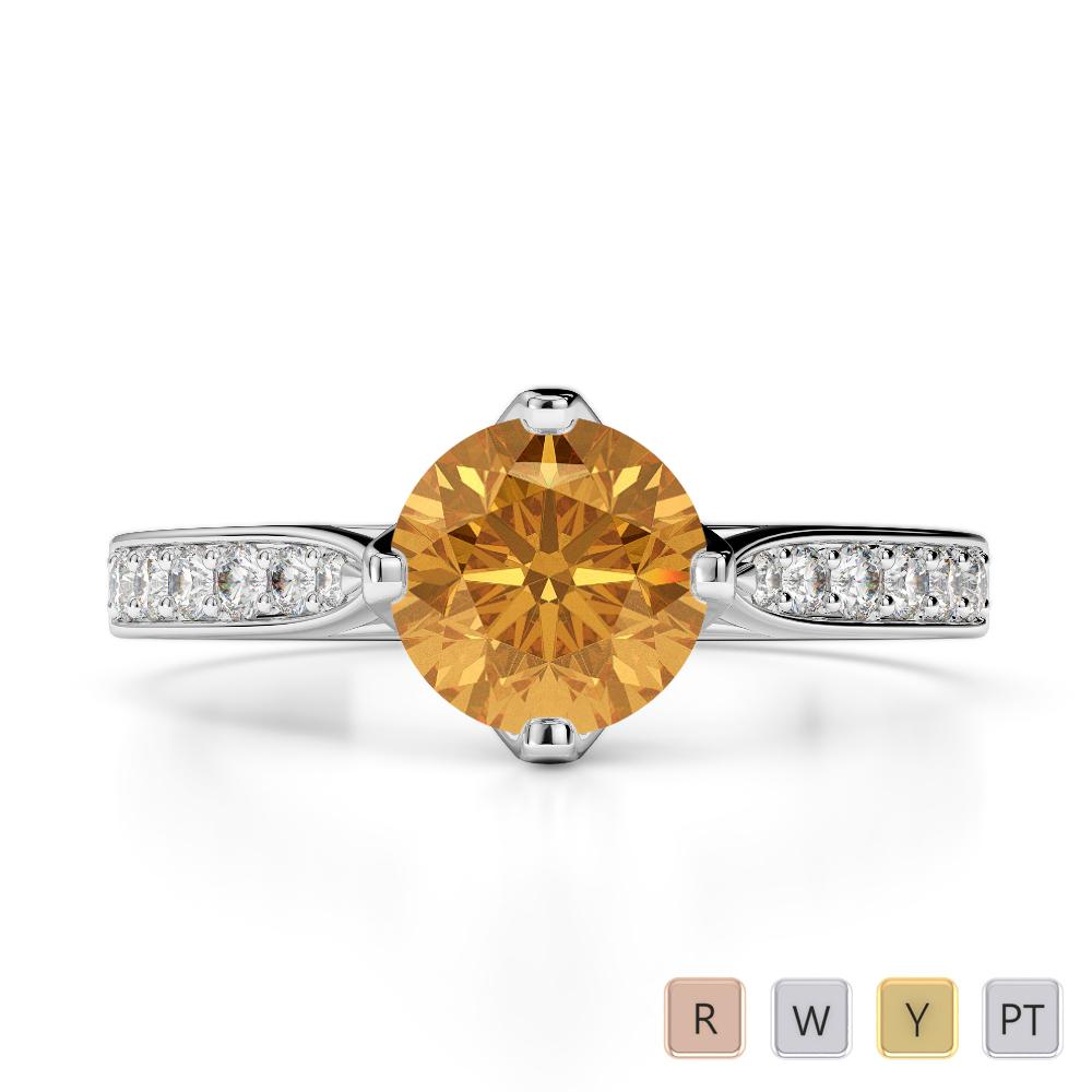 Gold / Platinum Round Cut Citrine and Diamond Engagement Ring AGDR-1204