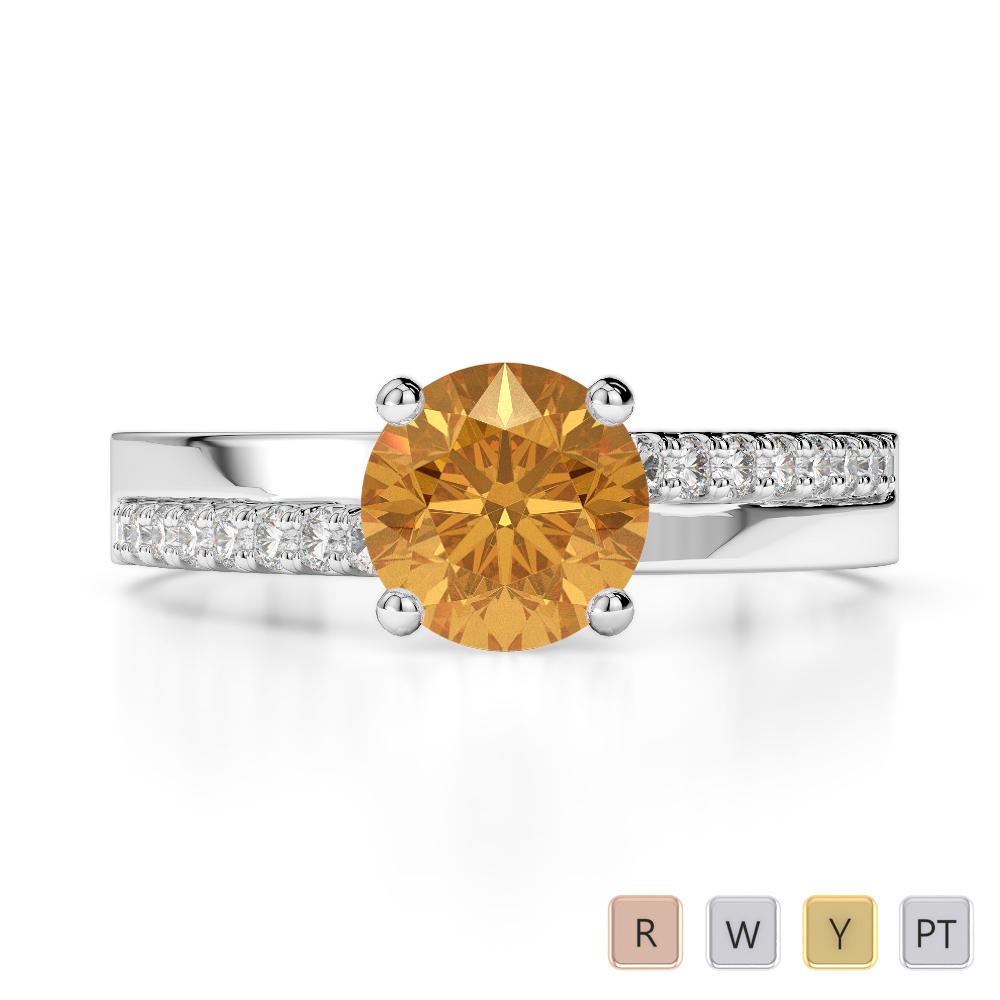 Gold / Platinum Round Cut Citrine and Diamond Engagement Ring AGDR-1206