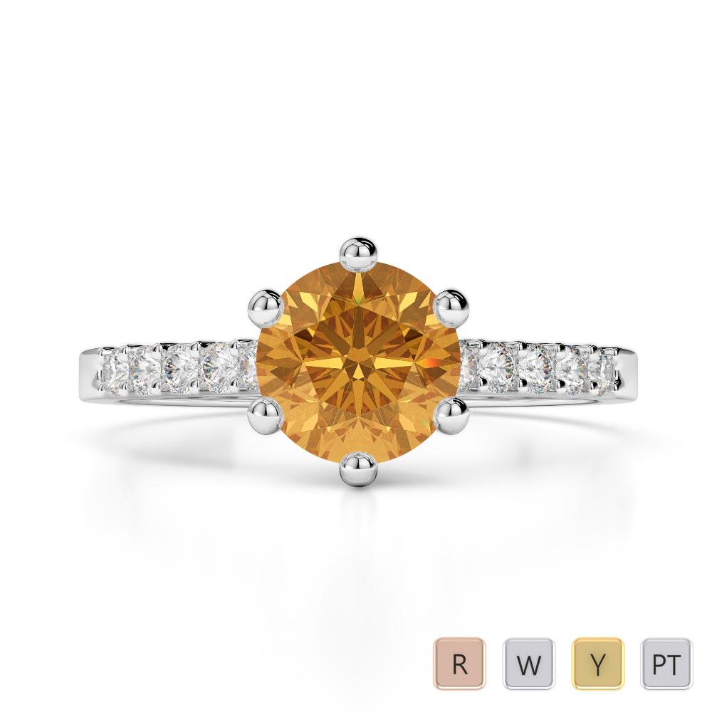 Gold / Platinum Round Cut Citrine and Diamond Engagement Ring AGDR-1208