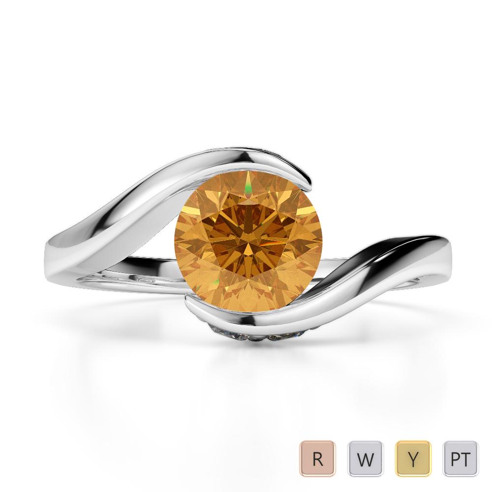 Gold / Platinum Round Cut Citrine and Diamond Engagement Ring AGDR-1209