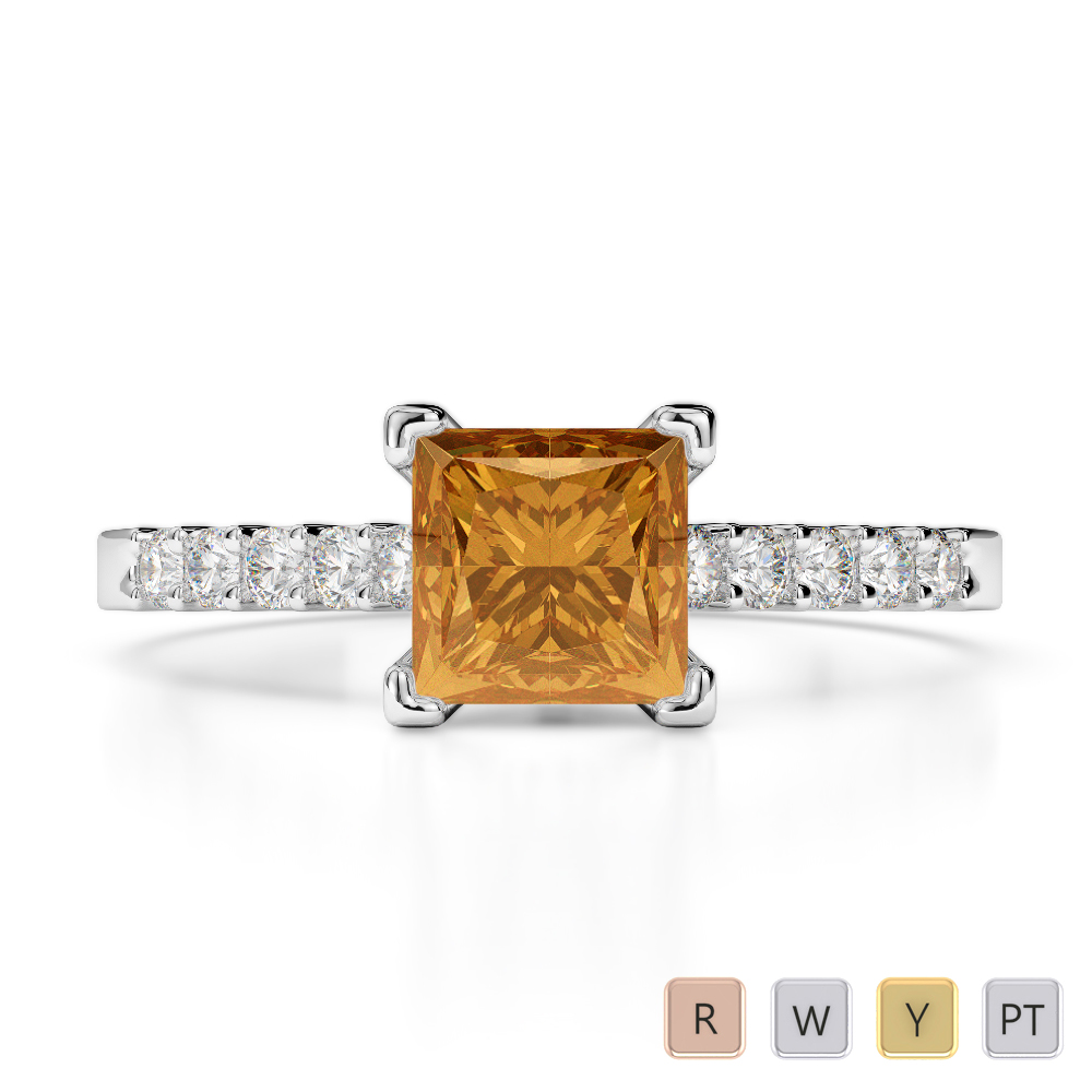 Gold / Platinum Round and Princess Cut Citrine and Diamond Engagement Ring AGDR-1210