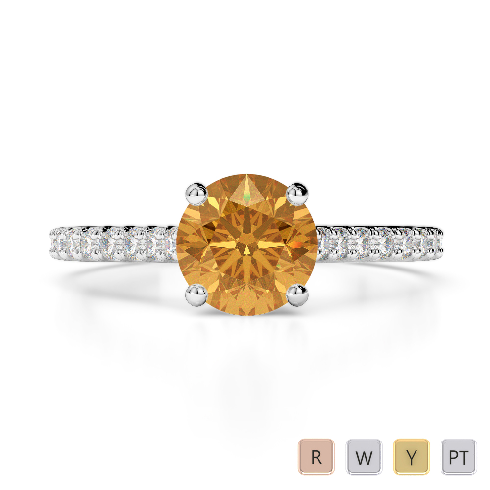Gold / Platinum Round Cut Citrine and Diamond Engagement Ring AGDR-1213
