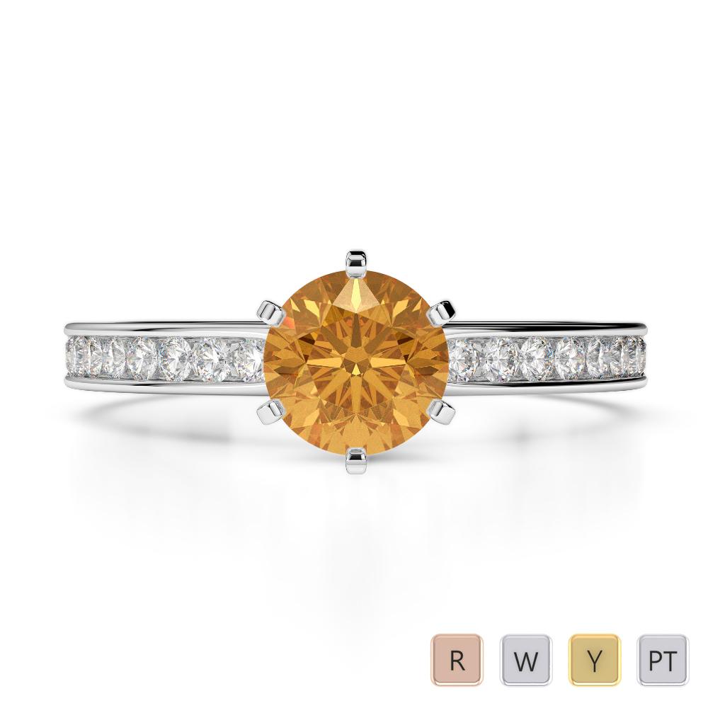 Gold / Platinum Round Cut Citrine and Diamond Engagement Ring AGDR-1214
