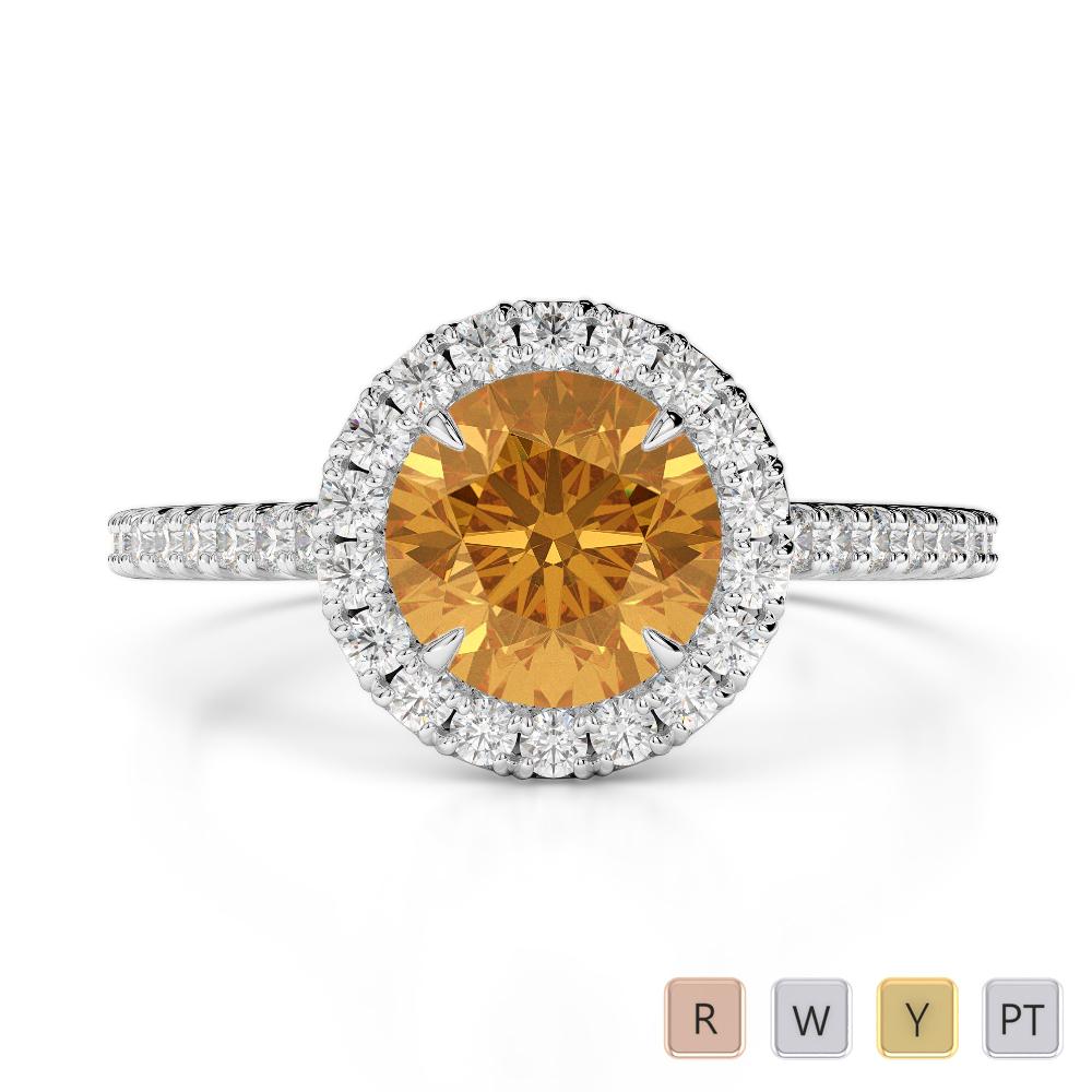 Gold / Platinum Round Cut Citrine and Diamond Engagement Ring AGDR-1215