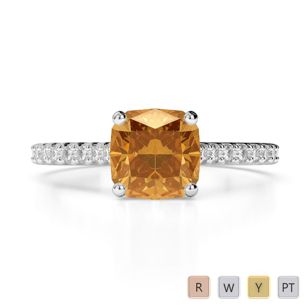Gold / Platinum Round and Cushion Cut Citrine and Diamond Engagement Ring AGDR-1216