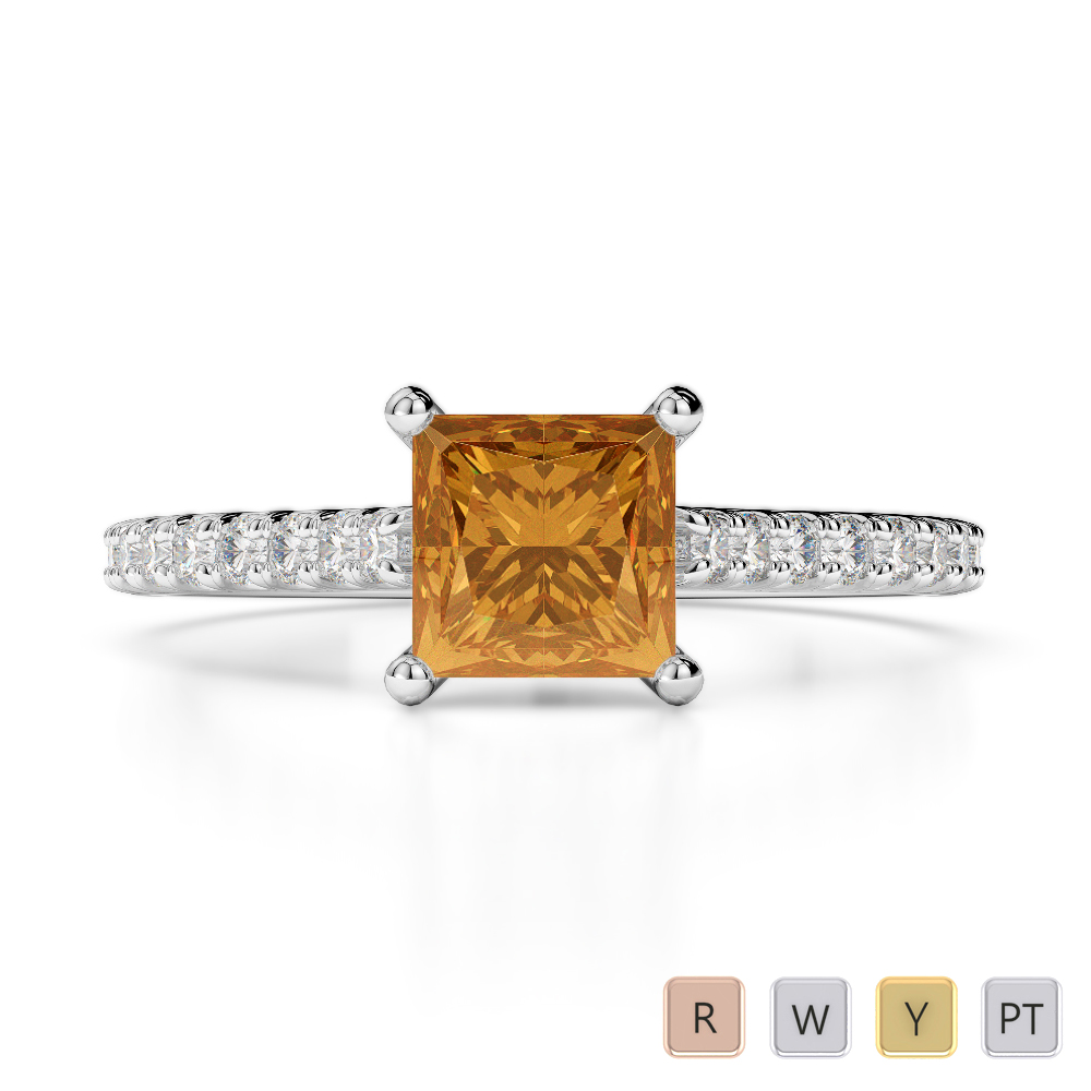 Gold / Platinum Round and Princess Cut Citrine and Diamond Engagement Ring AGDR-1217