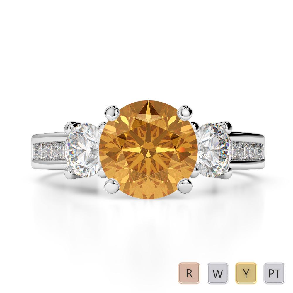 Gold / Platinum Round Cut Citrine and Diamond Engagement Ring AGDR-1218