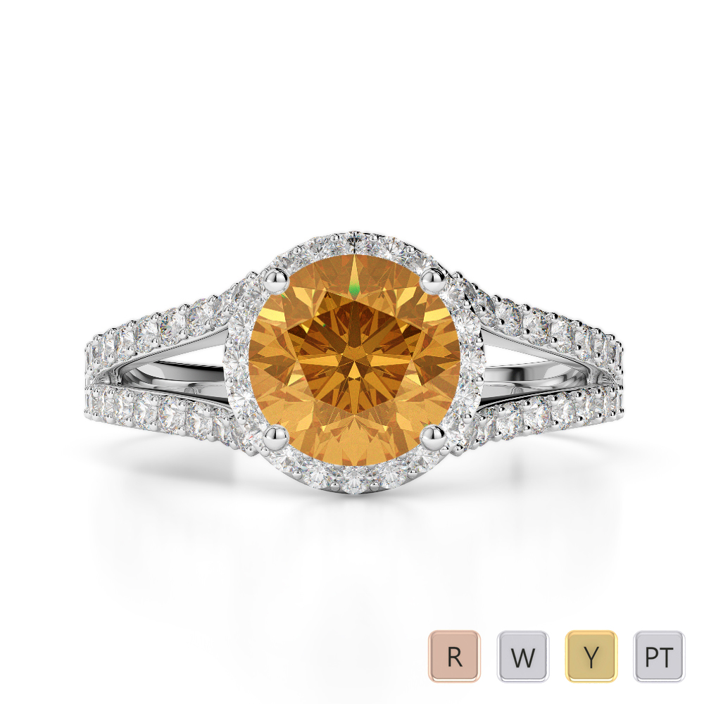 Gold / Platinum Round Cut Citrine and Diamond Engagement Ring AGDR-1220