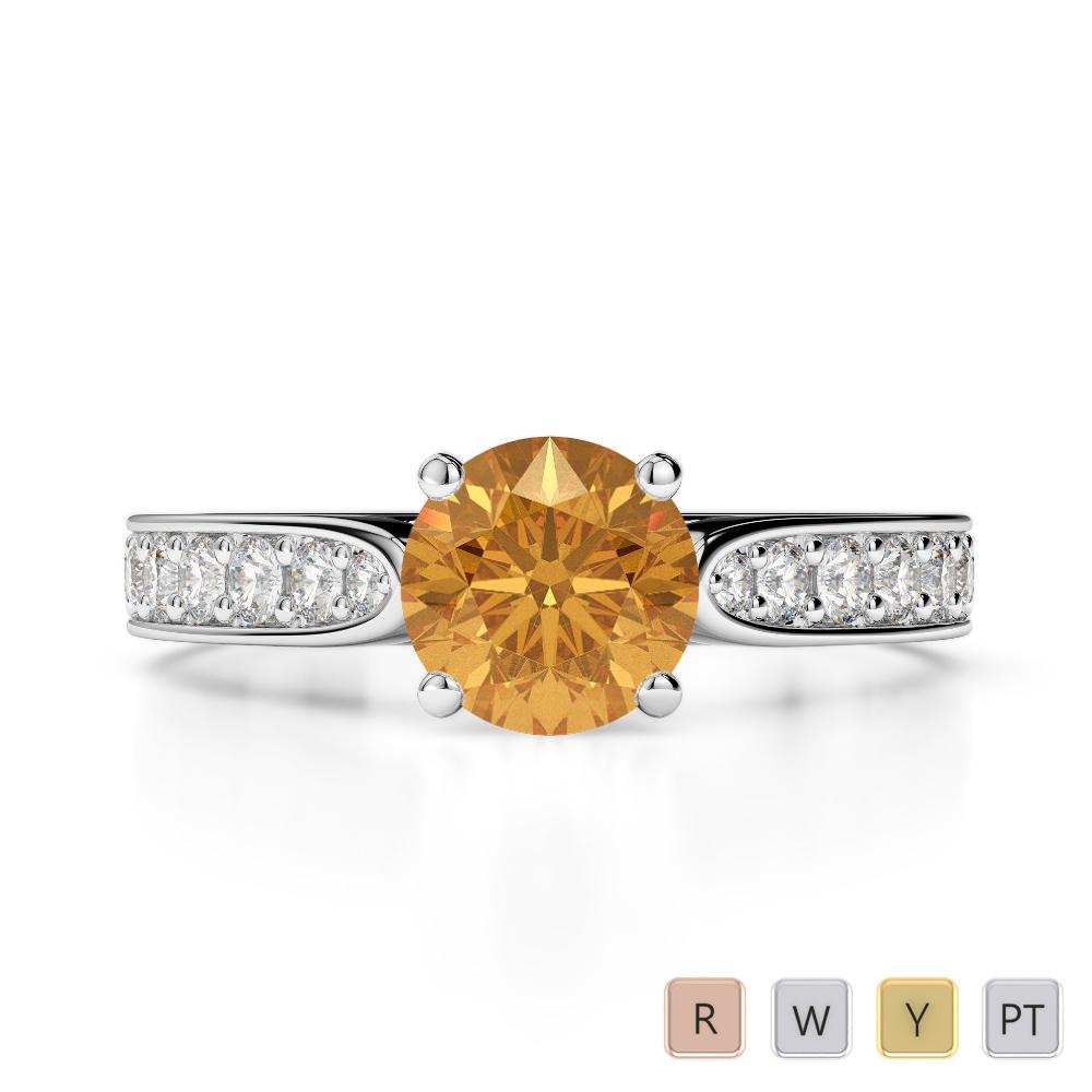 Gold / Platinum Round Cut Citrine and Diamond Engagement Ring AGDR-1221