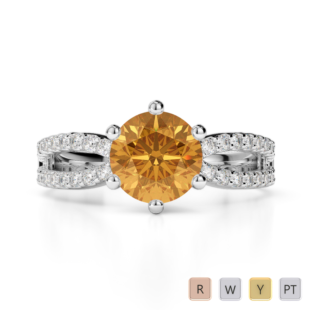 Gold / Platinum Round Cut Citrine and Diamond Engagement Ring AGDR-1223