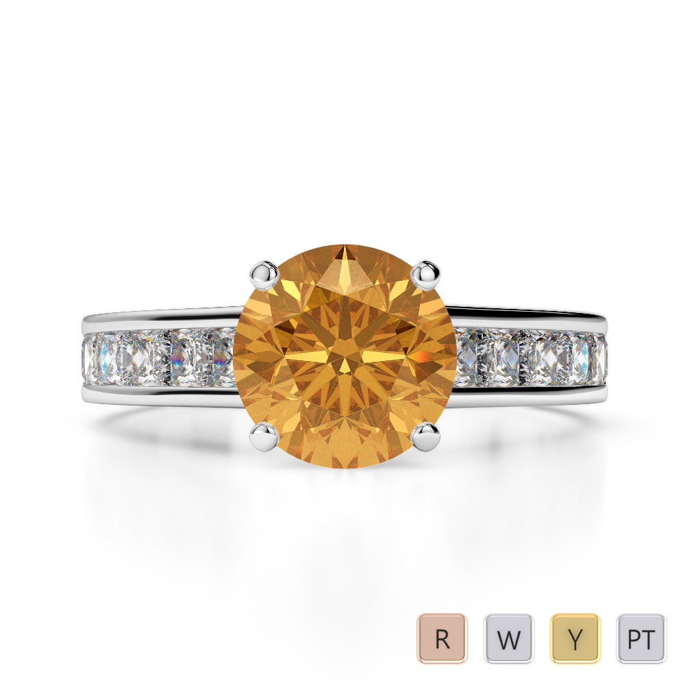 Gold / Platinum Round and Princess Cut Citrine and Diamond Engagement Ring AGDR-1224