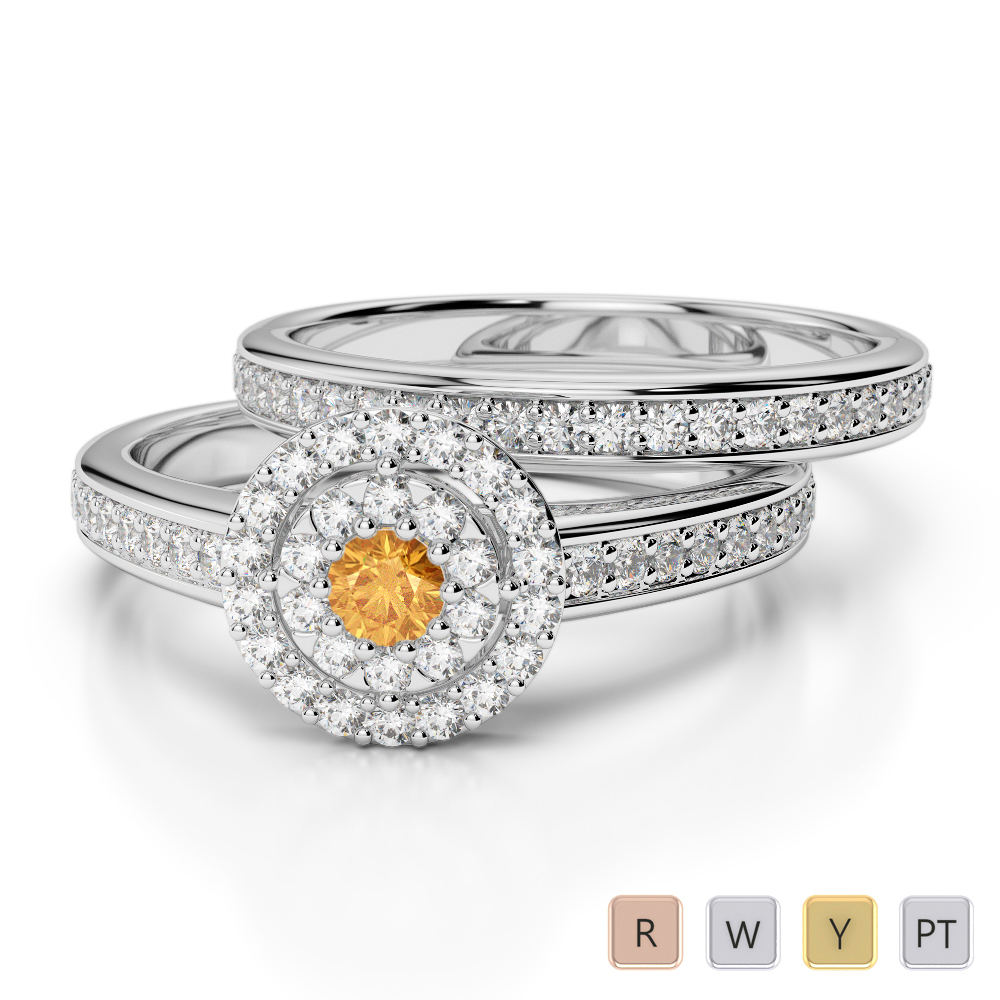 Gold / Platinum Round cut Citrine and Diamond Bridal Set Ring AGDR-1239