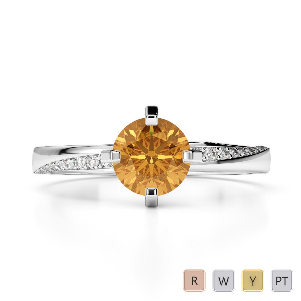 Gold / Platinum Round Cut Citrine and Diamond Engagement Ring AGDR-2002