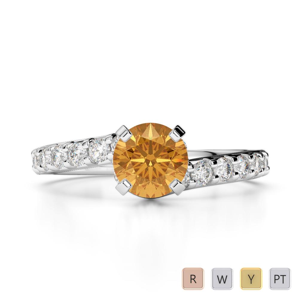 Gold / Platinum Round Cut Citrine and Diamond Engagement Ring AGDR-2004