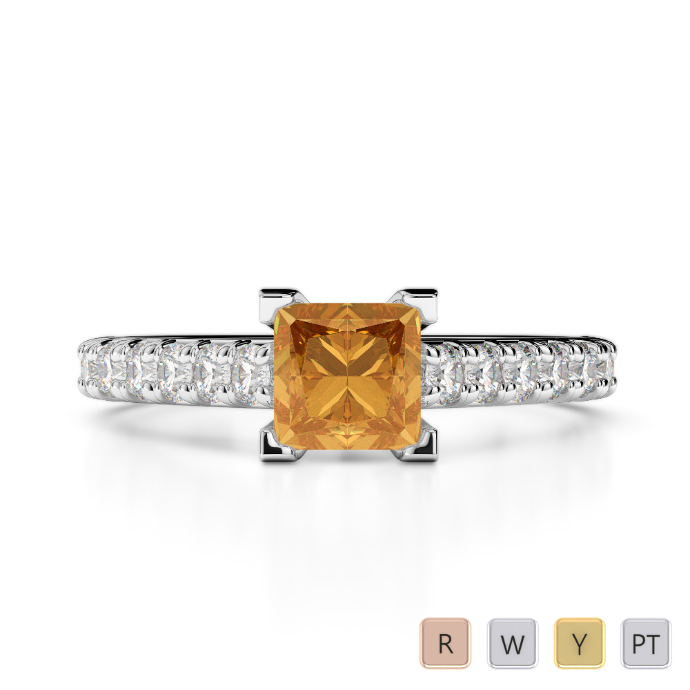 Gold / Platinum Round and Princess Cut Citrine and Diamond Engagement Ring AGDR-2008