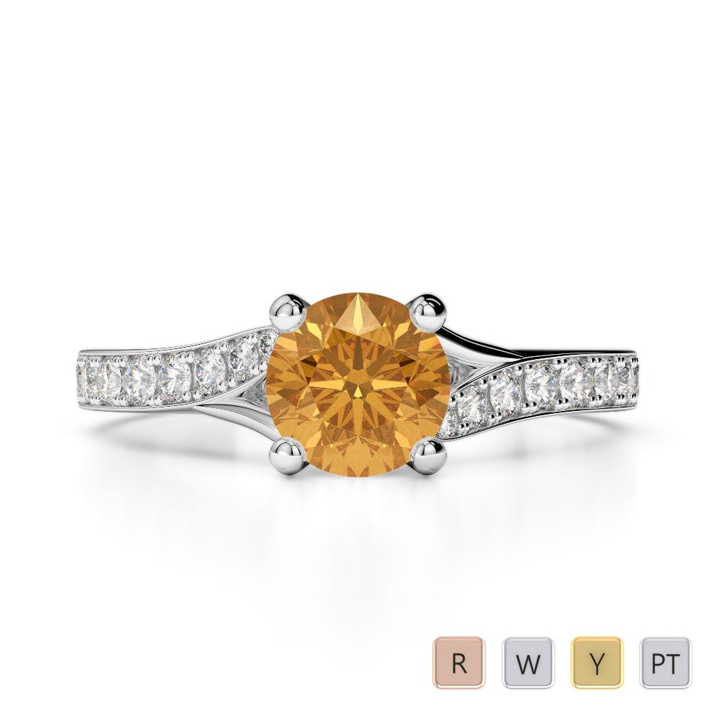 Gold / Platinum Round Cut Citrine and Diamond Engagement Ring AGDR-2012