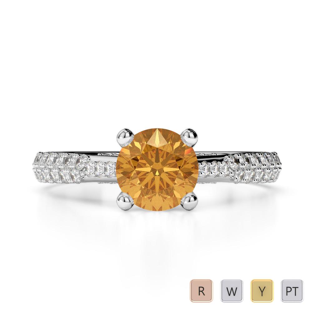 Gold / Platinum Round Cut Citrine and Diamond Engagement Ring AGDR-2014