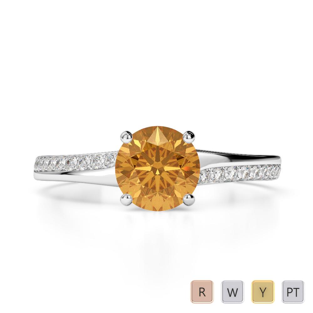 Gold / Platinum Round Cut Citrine and Diamond Engagement Ring AGDR-2016