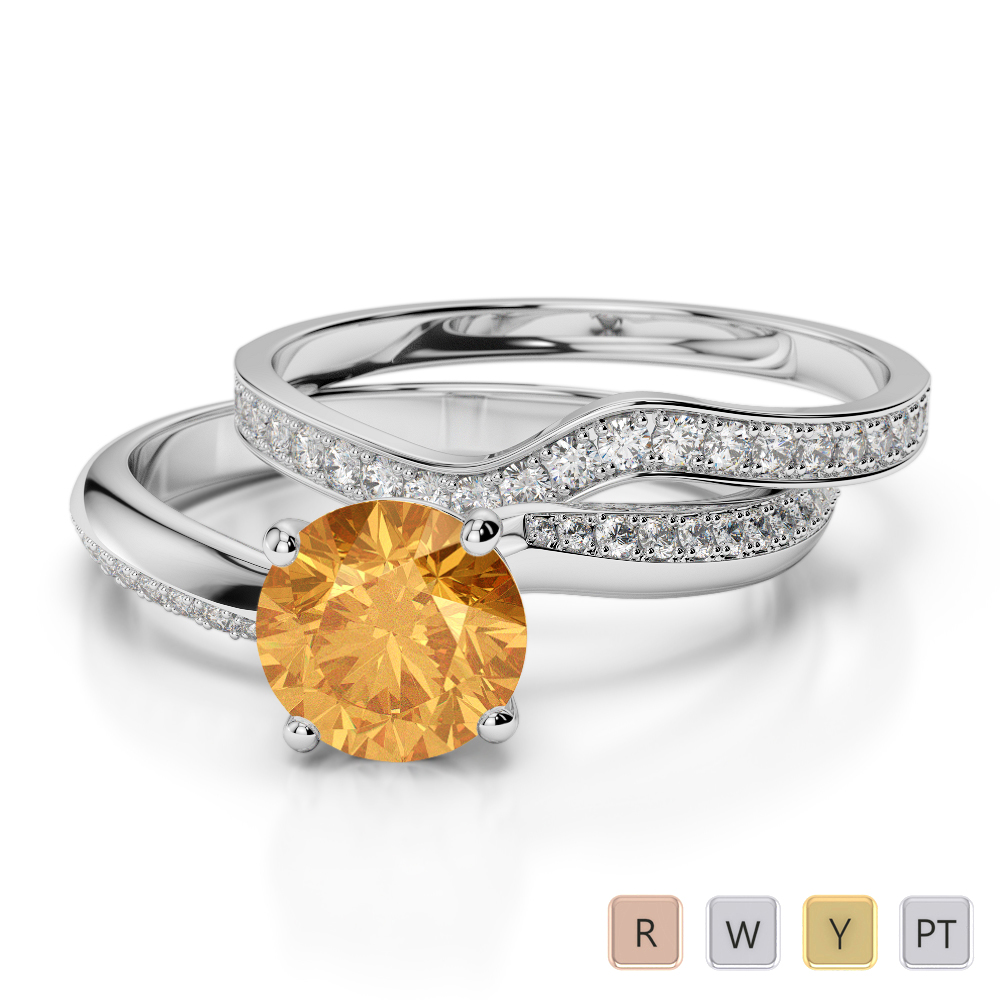 Gold / Platinum Round cut Citrine and Diamond Bridal Set Ring AGDR-2017