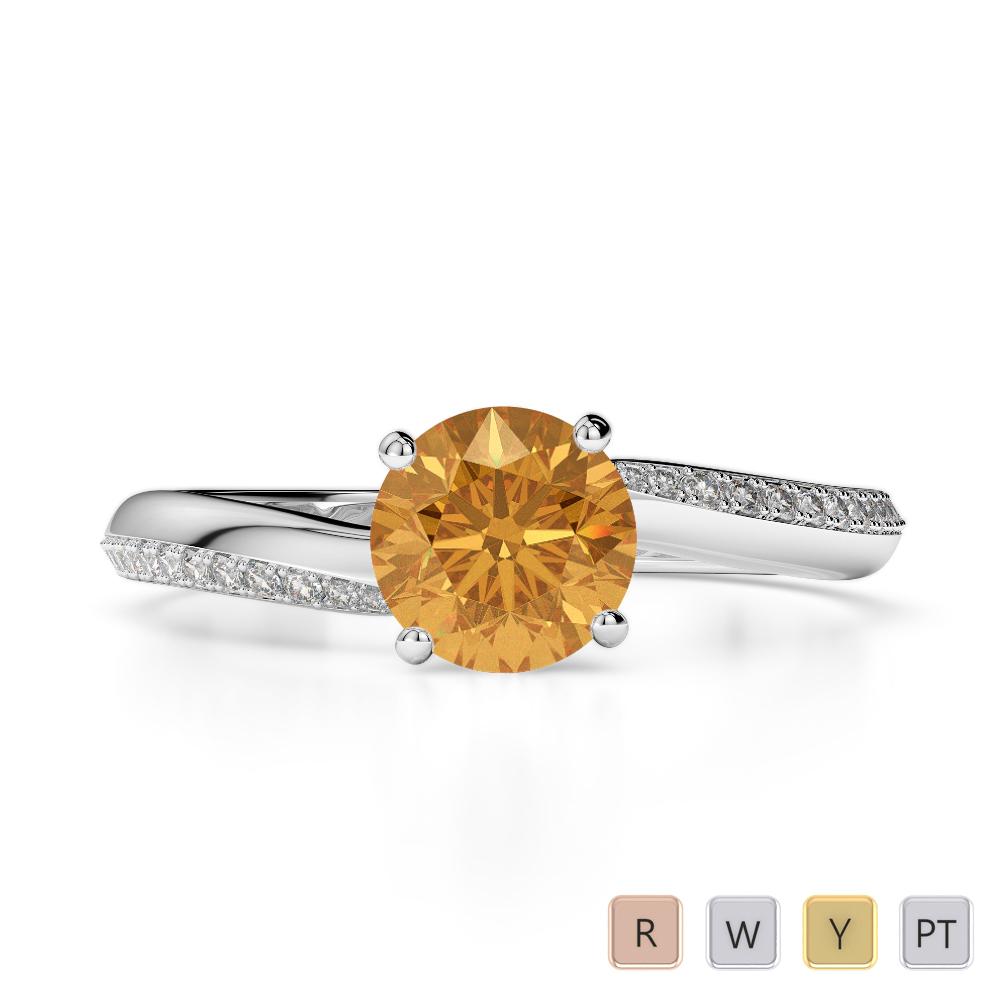 Gold / Platinum Round Cut Citrine and Diamond Engagement Ring AGDR-2018