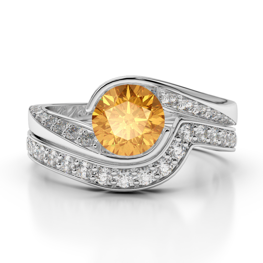 Gold Platinum Round Cut Citrine And Diamond Bridal Set Ring Agdr 2019