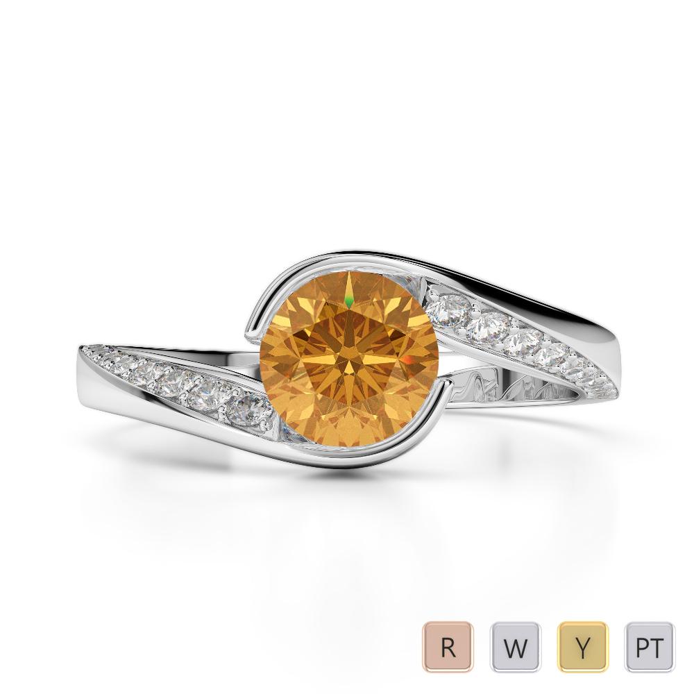 Gold / Platinum Round Cut Citrine and Diamond Engagement Ring AGDR-2020