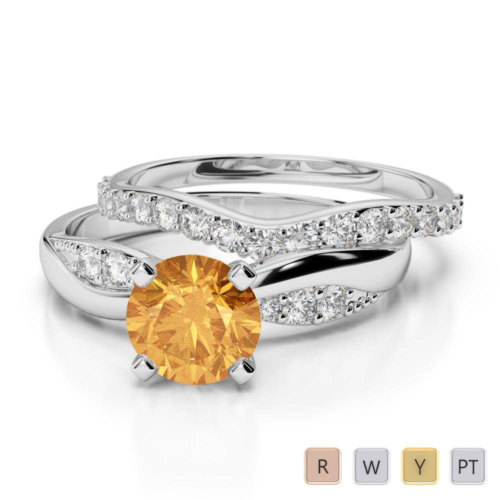 Gold / Platinum Round cut Citrine and Diamond Bridal Set Ring AGDR-2023