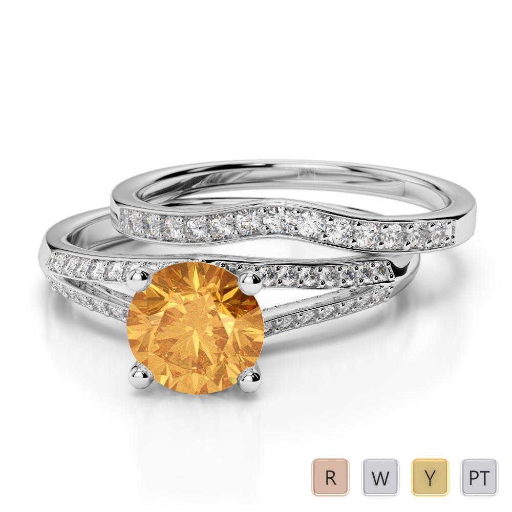Gold / Platinum Round cut Citrine and Diamond Bridal Set Ring AGDR-2037