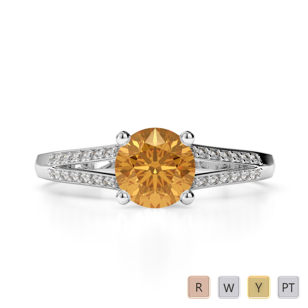 Gold / Platinum Round Cut Citrine and Diamond Engagement Ring AGDR-2038