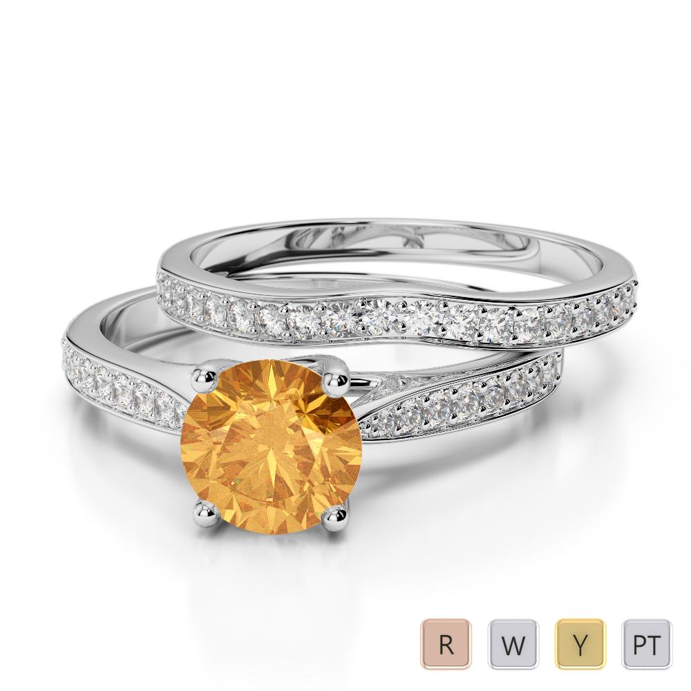 Gold / Platinum Round cut Citrine and Diamond Bridal Set Ring AGDR-2053