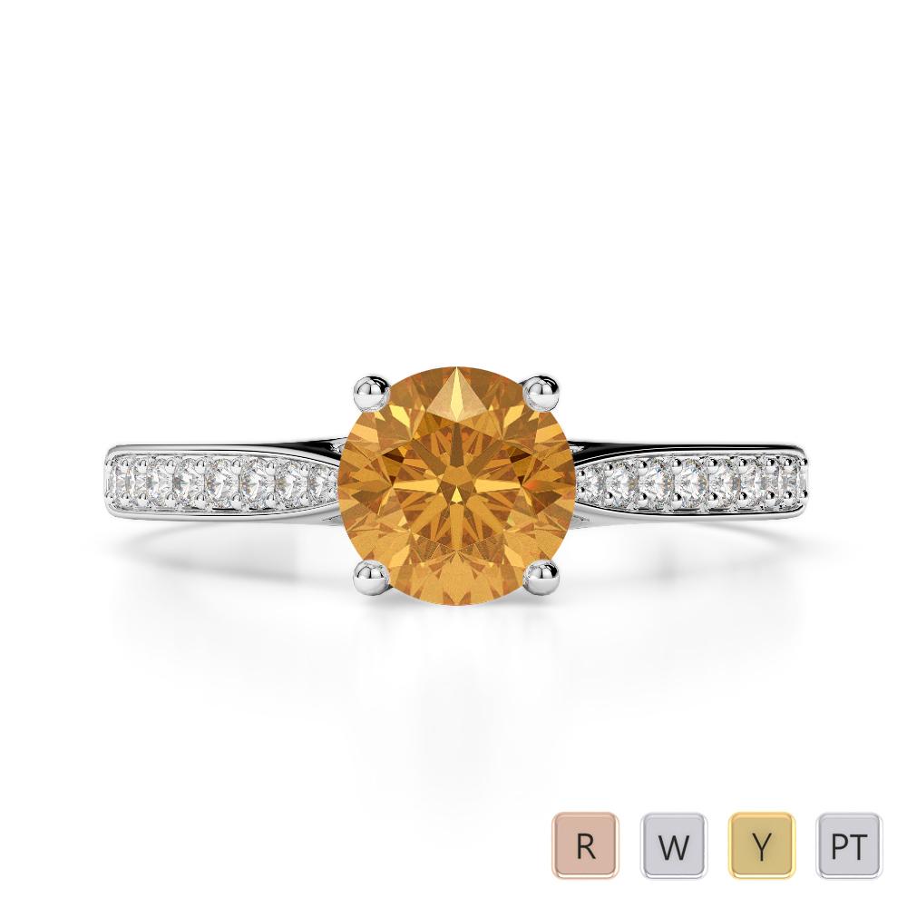 Gold / Platinum Round Cut Citrine and Diamond Engagement Ring AGDR-2054