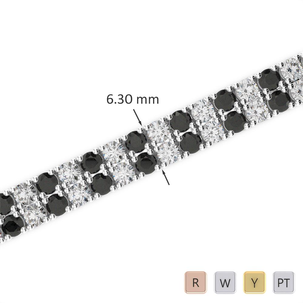 Gold / Platinum Round Cut Black Diamond with Diamond Bracelet AGBRL-1037