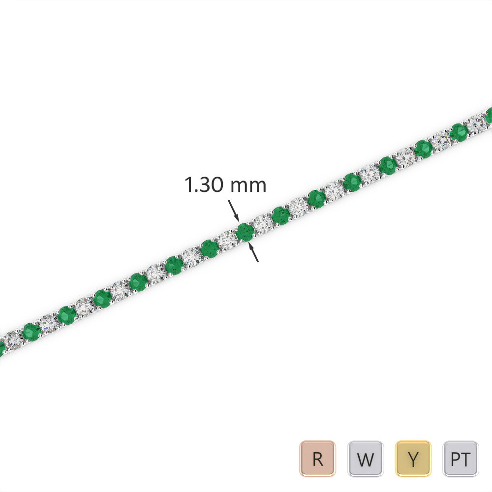Gold / Platinum Round Cut Emerald and Diamond Bracelet AGBRL-1001