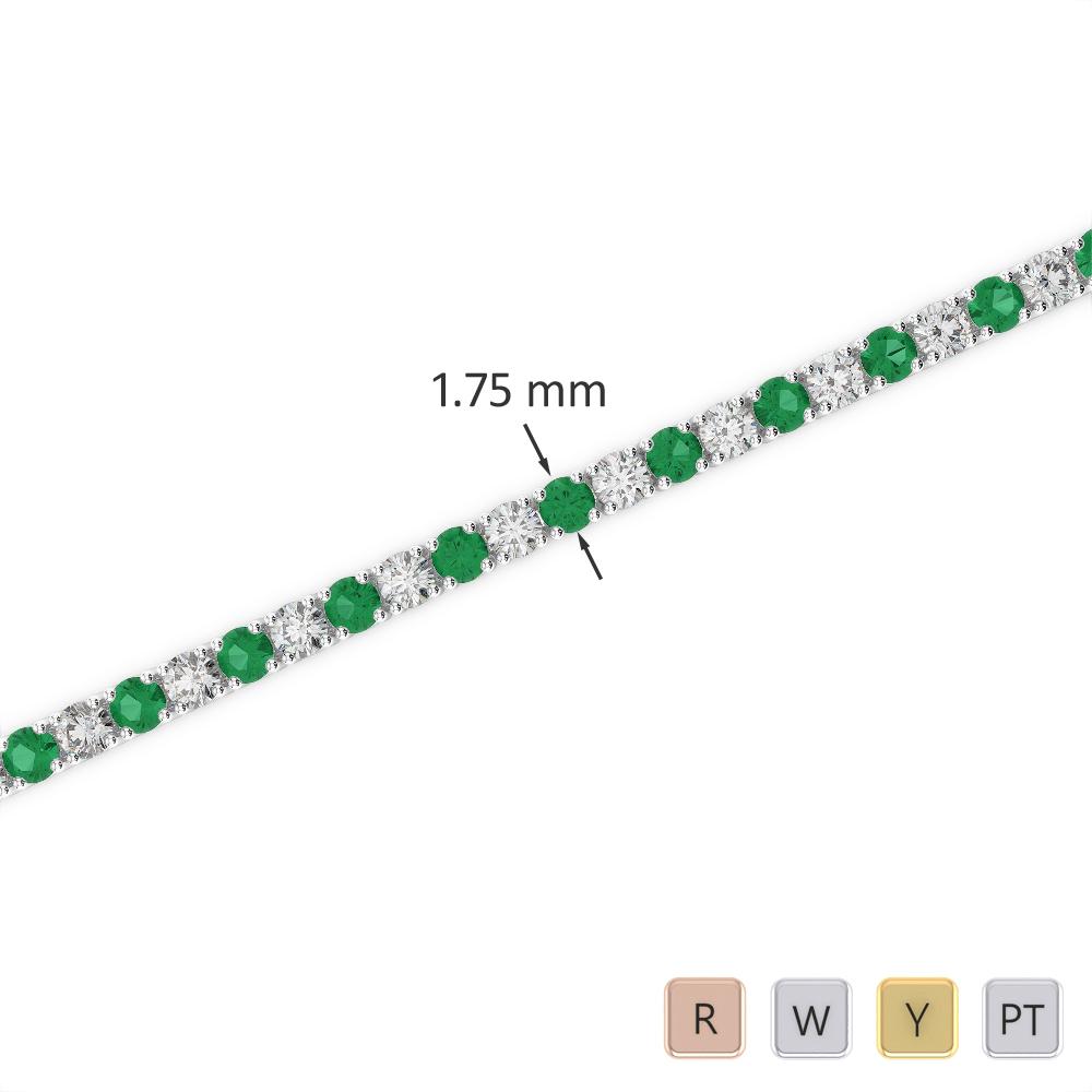 Gold / Platinum Round Cut Emerald and Diamond Bracelet AGBRL-1002