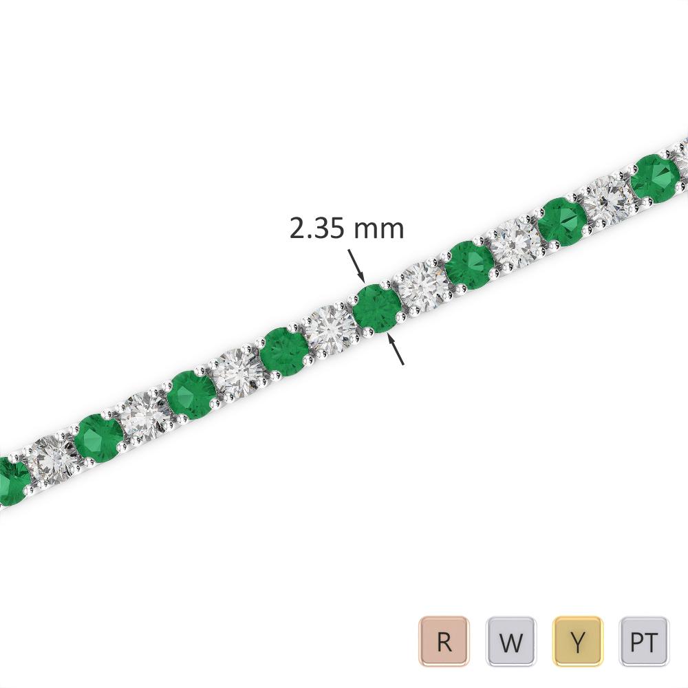 Gold / Platinum Round Cut Emerald and Diamond Bracelet AGBRL-1005