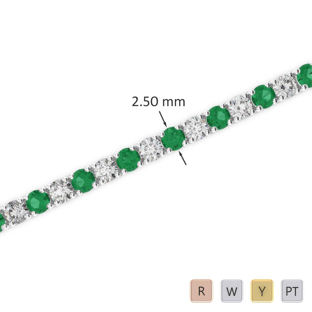 Gold / Platinum Round Cut Emerald and Diamond Bracelet AGBRL-1006