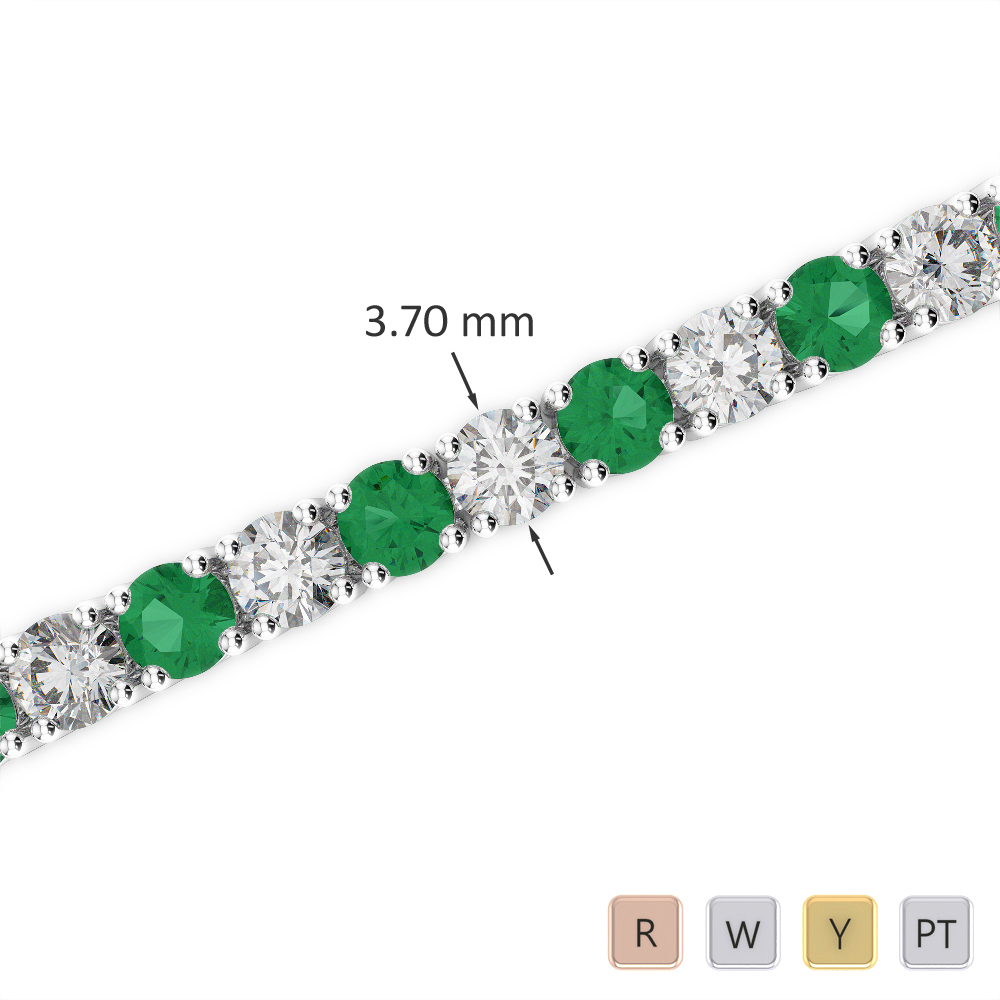 Gold / Platinum Round Cut Emerald and Diamond Bracelet AGBRL-1010