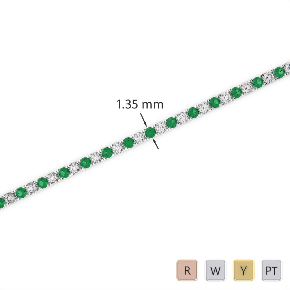 Gold / Platinum Round Cut Emerald and Diamond Bracelet AGBRL-1012