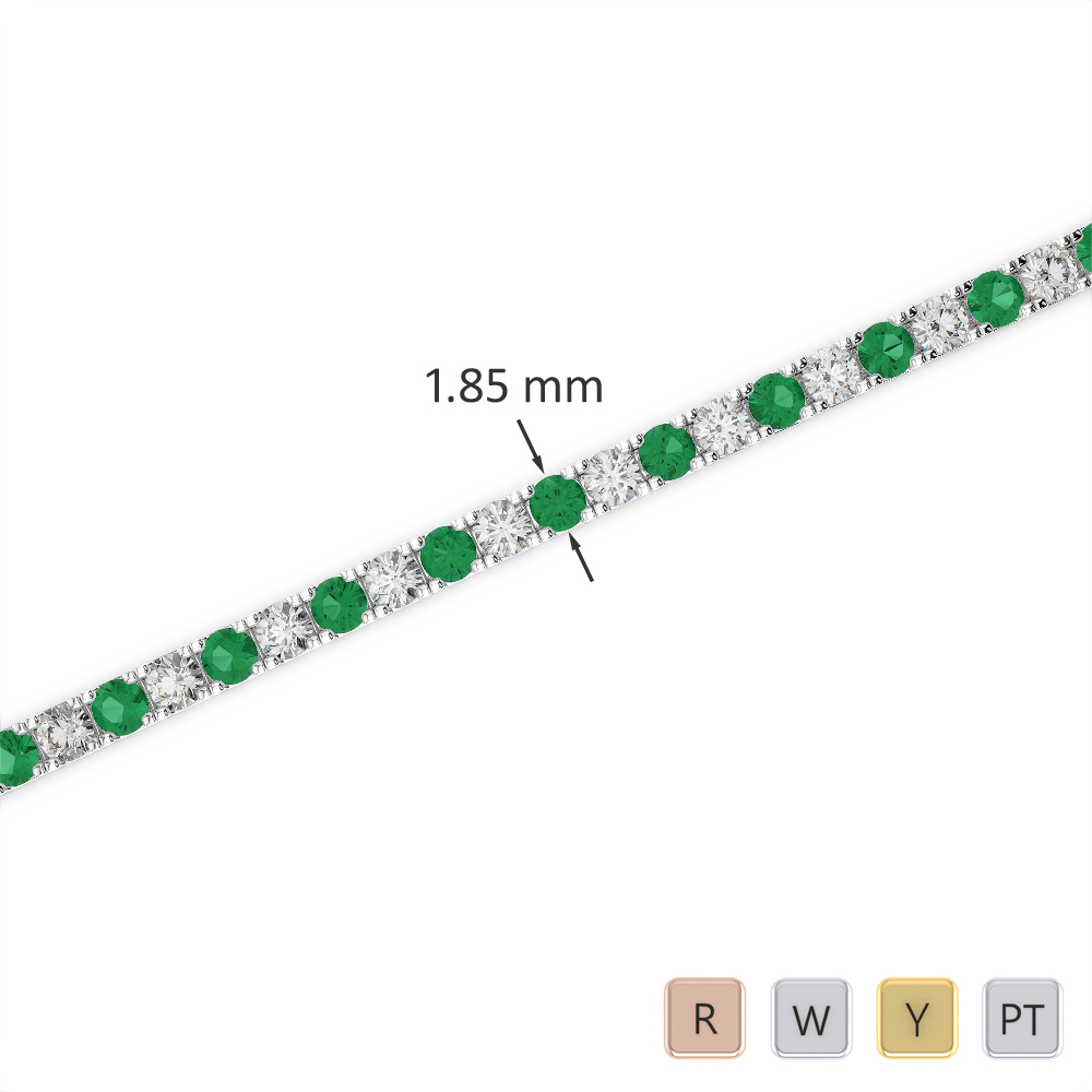 Gold / Platinum Round Cut Emerald and Diamond Bracelet AGBRL-1013