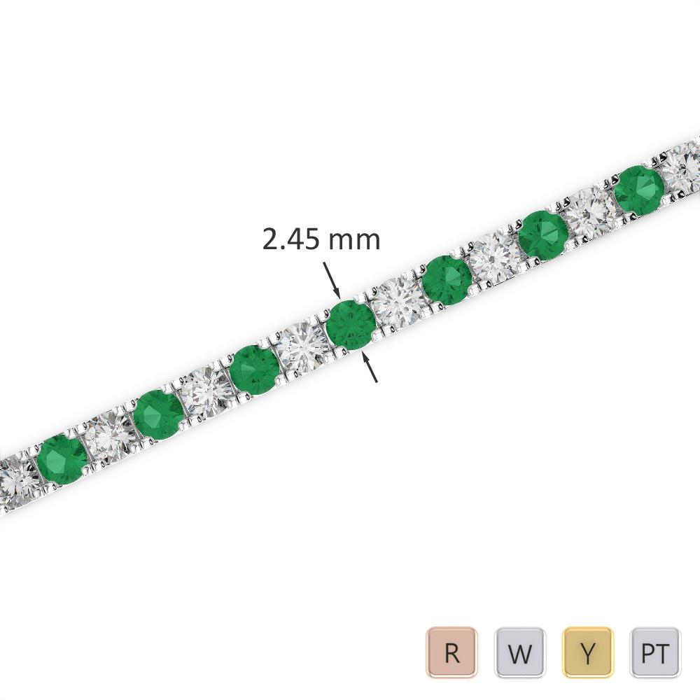 Gold / Platinum Round Cut Emerald and Diamond Bracelet AGBRL-1016