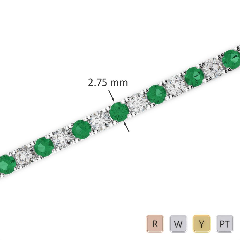 Gold / Platinum Round Cut Emerald and Diamond Bracelet AGBRL-1018