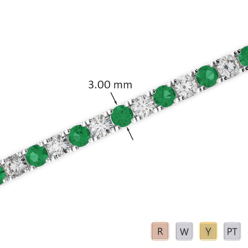 Gold / Platinum Round Cut Emerald and Diamond Bracelet AGBRL-1019